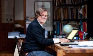 David Hare, photographed in his study in London
